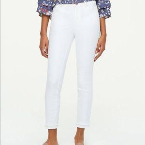 LOFT double frayed white skinny jeans
